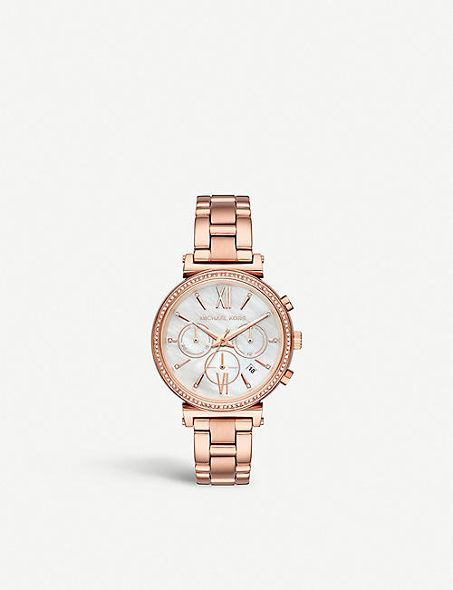 b1b98180923a MICHAEL KORS MK6576 Sophie rose-gold plated stainless steel and crystal  embellished MoP chronograph watch