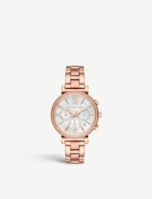 MICHAEL KORS MK6576 Sophie rose-gold plated stainless steel and crystal embellished MoP chronograph watch