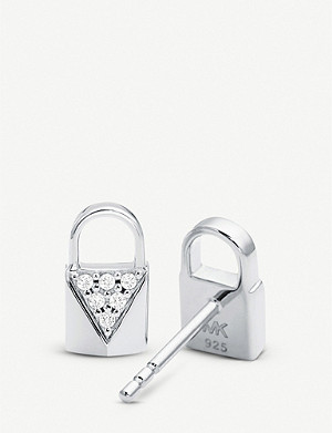MICHAEL KORS Mercer Link silver pave-embellished padlock earrings