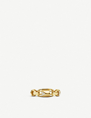 MICHAEL KORS Mercer Link yellow-gold plated pavé crystal ring