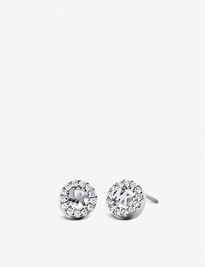 MICHAEL KORS Round monogram pave-embellished stud earrings