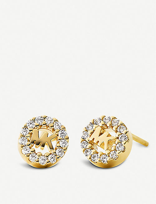 6760c566a7a7 MICHAEL KORS Round monogram pave-embellished yellow gold-plated stud  earrings