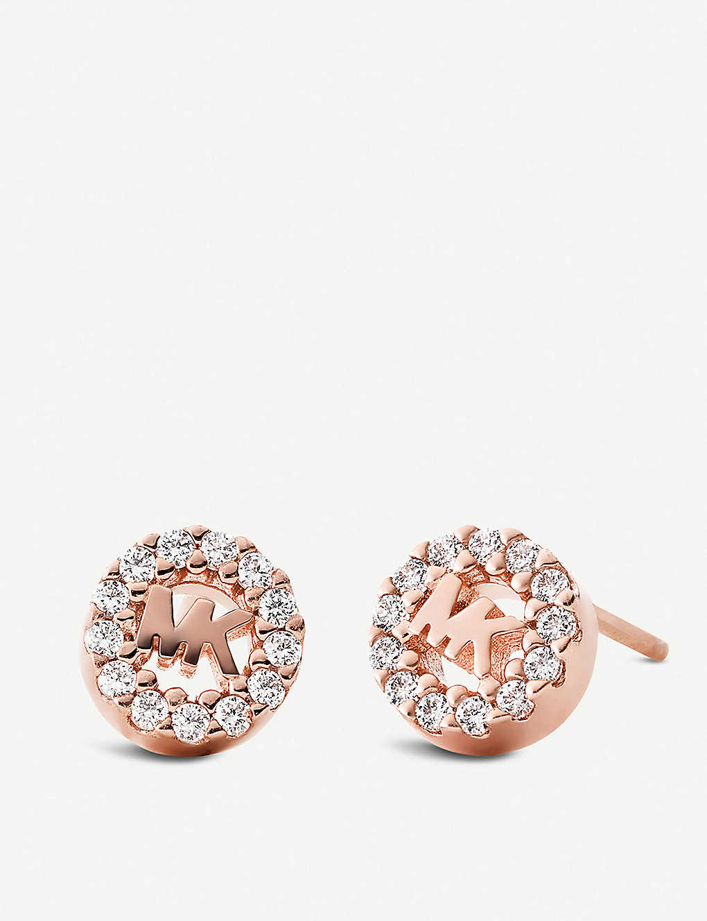 98ee077b9b5bab MICHAEL KORS Round monogram rose gold-plated and pave embellishment stud  earrings