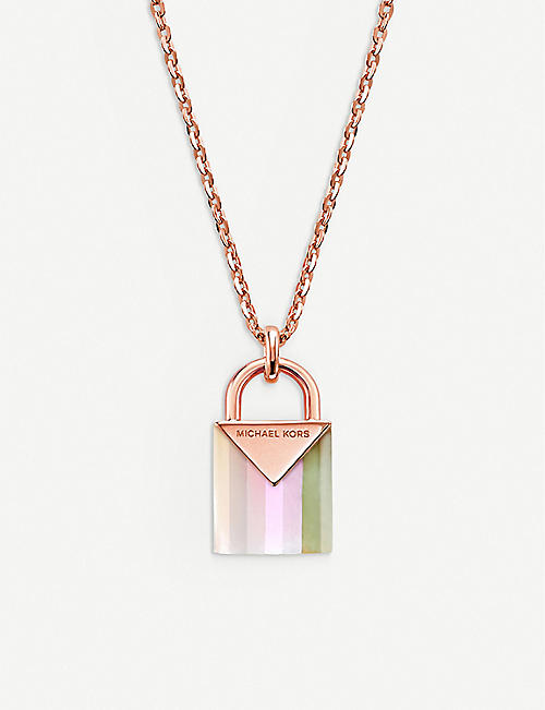 2d0bb6134 MICHAEL KORS Kors Color 14ct rose gold-plated padlock necklace