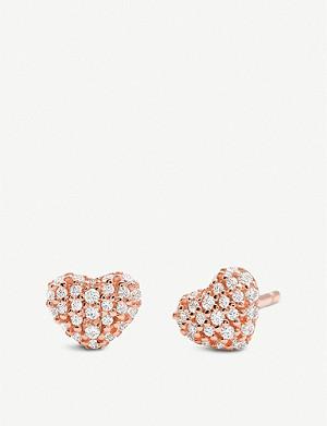61999009fc3b1 MICHAEL KORS · Rose gold-toned cubic zirconia stud earrings