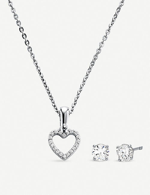 MICHAEL KORS Sterling silver heart pendant and earrings set