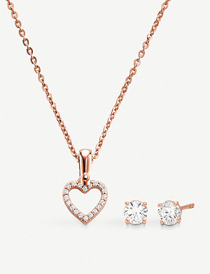 MICHAEL KORS 14ct rose gold-plated sterling silver necklace and earrings set