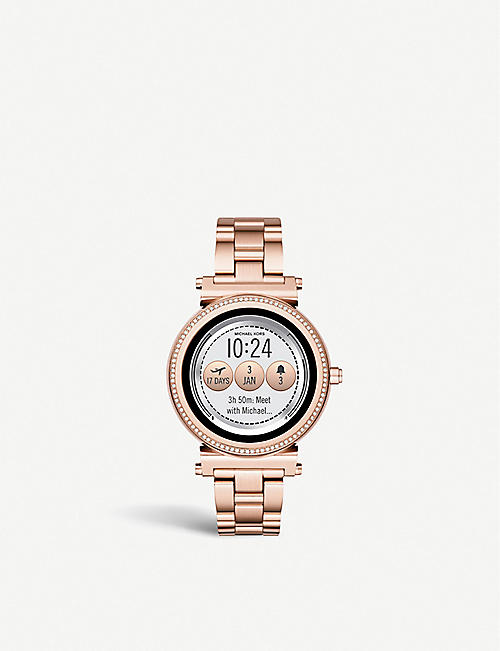 MICHAEL KORS MKT5022 Sofie rose-gold plated stainless steel and pavé smartwatch