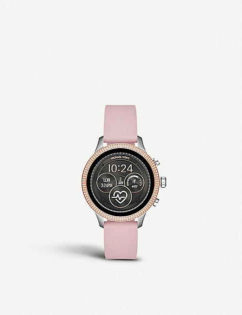 78c2310e901 MICHAEL KORS MKT5055 Runway rose-gold plated stainless steel and rubber  watch