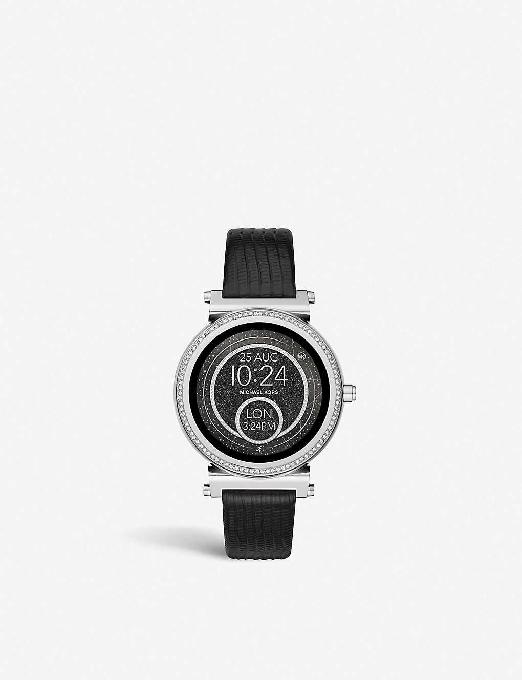 ebad78e31fcf MICHAEL KORS - Sofie embossed leather Smartwatch strap