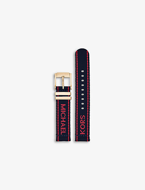 MICHAEL KORS: Runway logo-embroidered woven watch strap