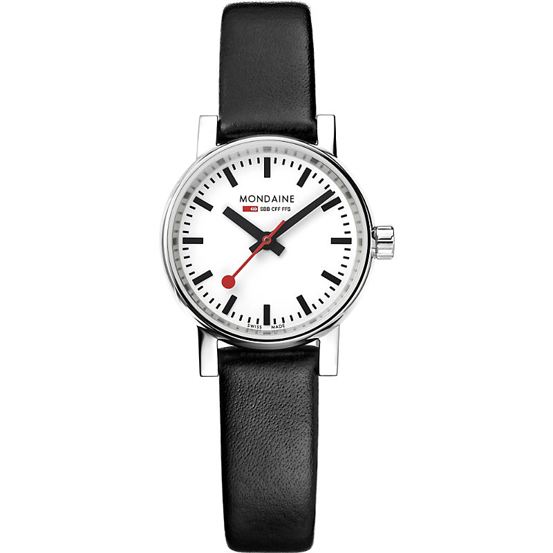 MONDAINE Mse-26110-Lb Evo2 Petite Leather And Stainless Steel Watch in Black