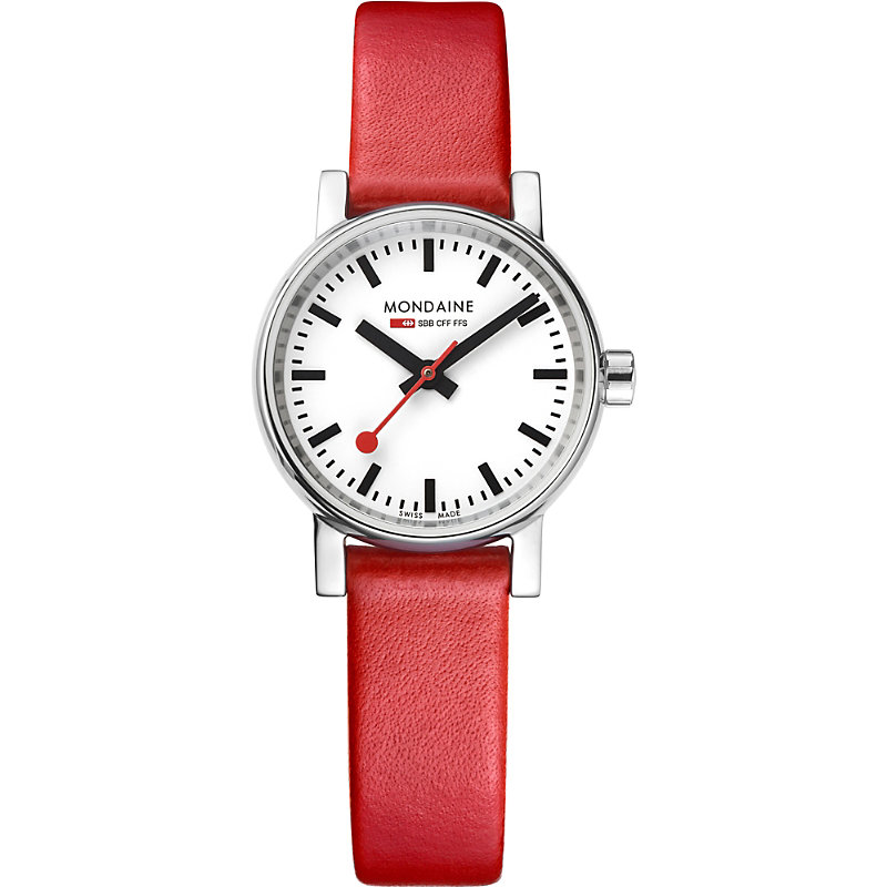 MONDAINE Mse-26110-Lc Evo2 Petite Leather And Stainless Steel Watch in Red