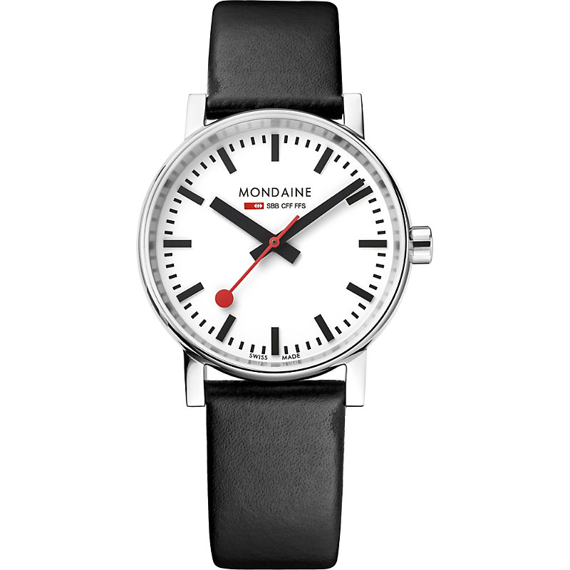 MONDAINE Mse-35110-Lb Evo2 Leather And Stainless Steel Watch in Black