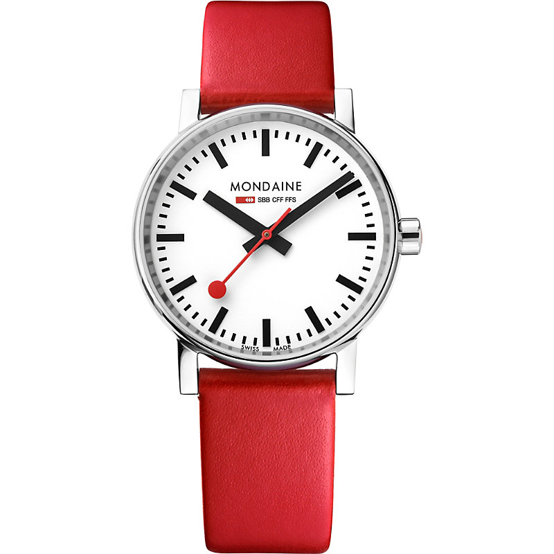 MONDAINE Mse-35110-Lc Evo2 Leather And Stainless Steel Watch in Red