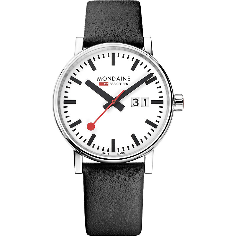 MONDAINE Mse-40210-Lb Evo2 Big Leather And Stainless Steel Watch in Black