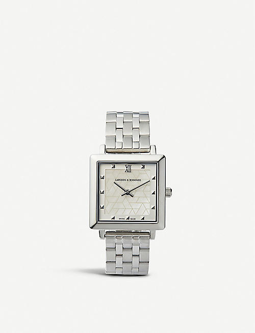 LARSSON & JENNINGS: Bernadotte silver-plated stainless steel watch
