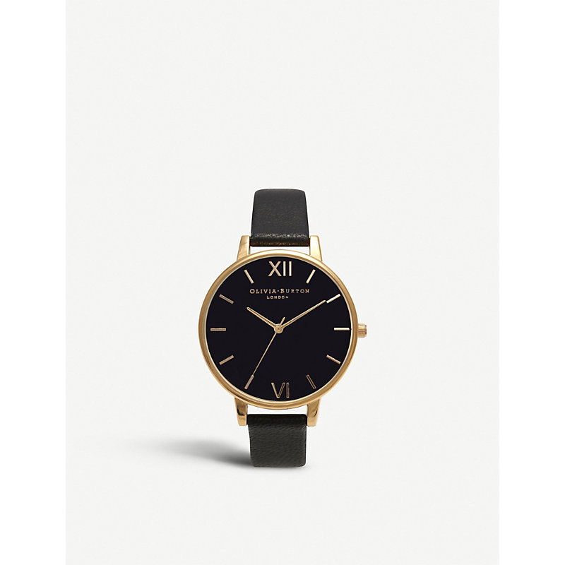 OLIVIA BURTON Big Dial Leather And Yellow Gold-Plated Watch in Black