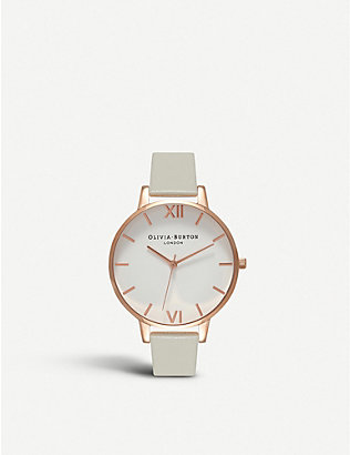 OLIVIA BURTON: OB15BDW02 White Dial rose gold and leather watch