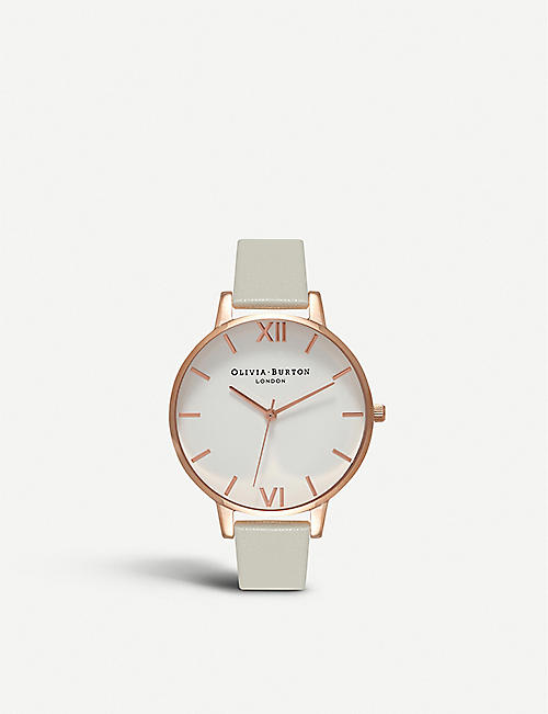 OLIVIA BURTON OB15BDW02 White Dial rose gold and leather watch
