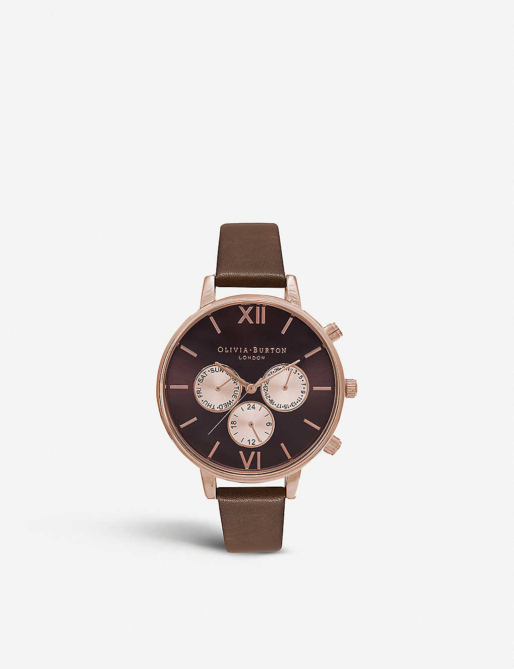 b9bf62572 OLIVIA BURTON - Chrono detail rose gold-plated and leather watch ...