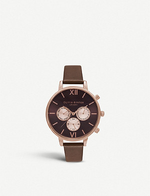 OLIVIA BURTON Chrono detail rose gold-plated and leather watch