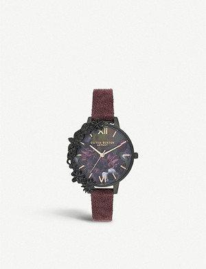 OLIVIA BURTON OB16AD44 After Dark ion-plated stainless steel and suede strap watch