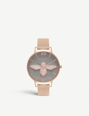 OLIVIA BURTON OB16AM117 3D Bee rose-gold plated stainless steel watch
