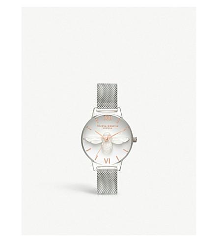 c0721d5d3243 OLIVIA BURTON - OB16AM146 3D Bee rose gold   silver mesh watch ...