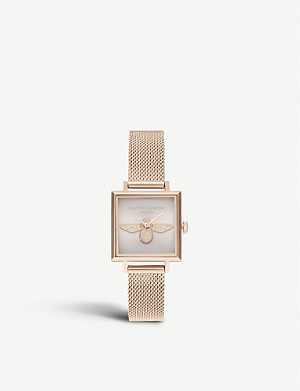 OLIVIA BURTON OB16AM164 3D Bee square-dial rose-gold watch