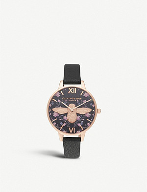 OLIVIA BURTON Meant To Bee rose gold-plated and leather strap watch