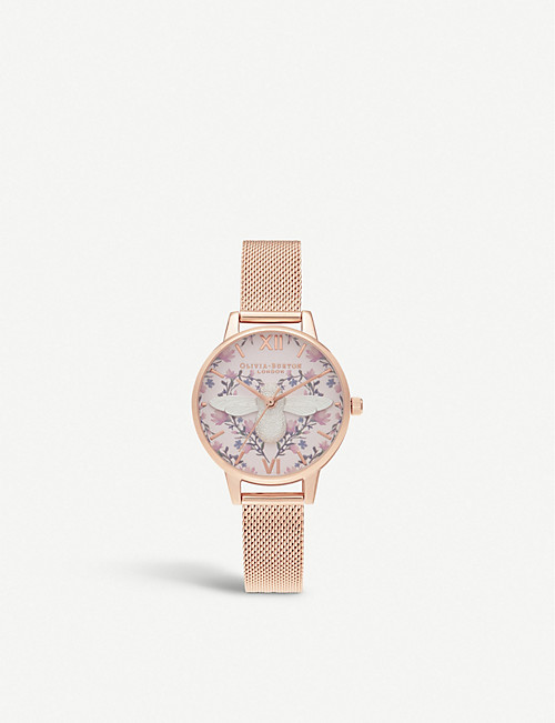 OLIVIA BURTON OB16AM166 Meant To Bee rose gold-plated and leather strap  watch 99d1f65736