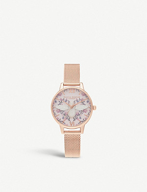 OLIVIA BURTON OB16AM166 Meant To Bee rose gold-plated and leather strap watch