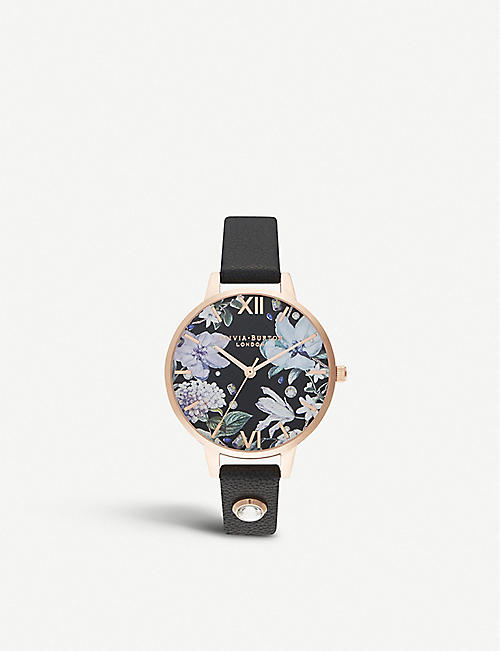 OLIVIA BURTON: OB16BF23 Bejewelled Florals 18ct rose-gold and leather strap watch