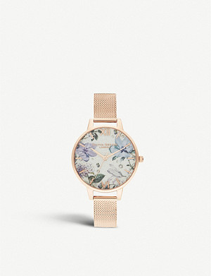 OLIVIA BURTON OB16BF27 Bejewelled Florals 18ct rose-gold glittered dial watch