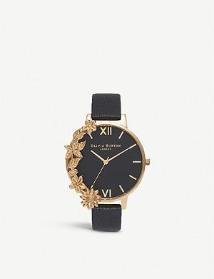 OLIVIA BURTON Gold and leather watch