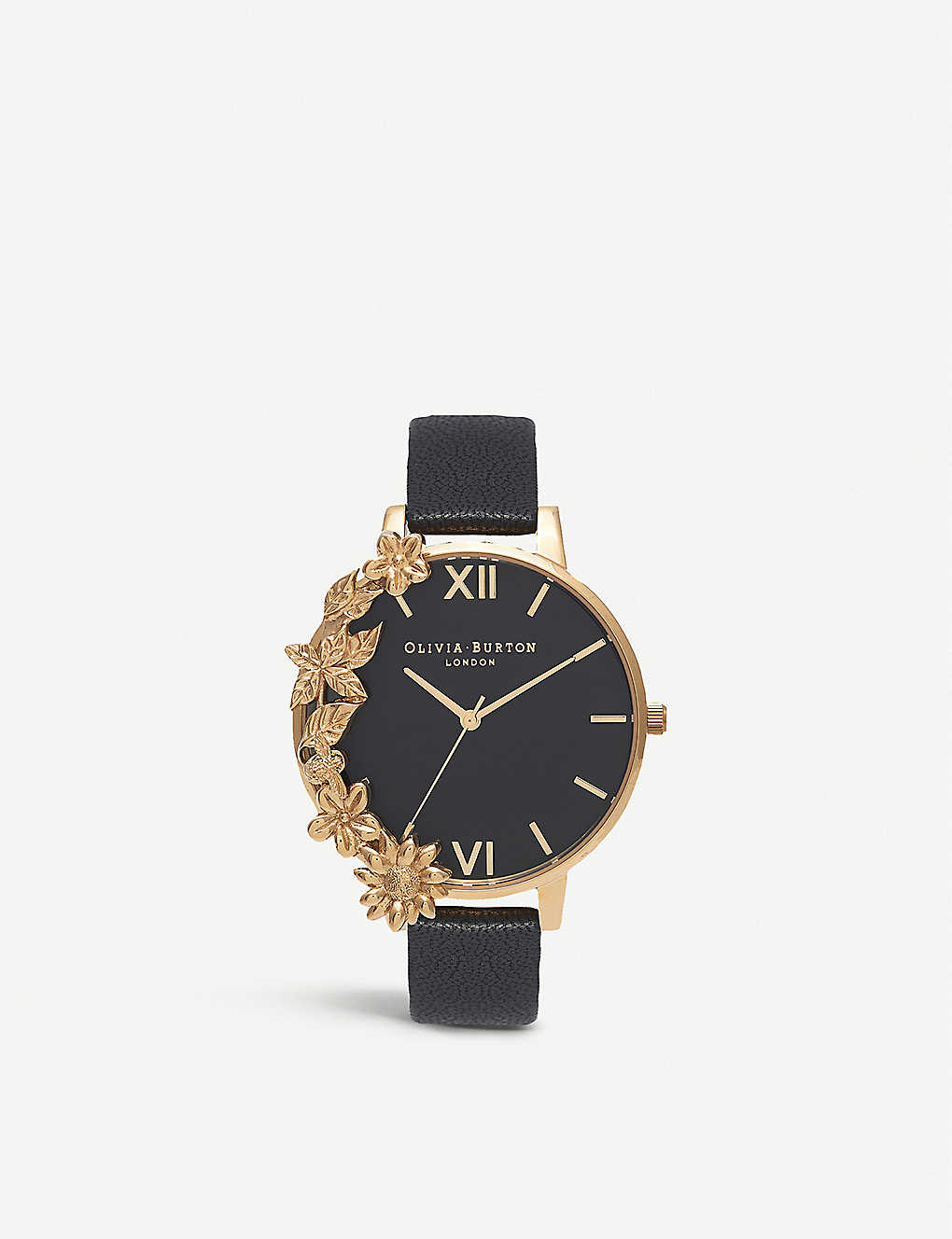 OLIVIA BURTON: Gold and leather watch