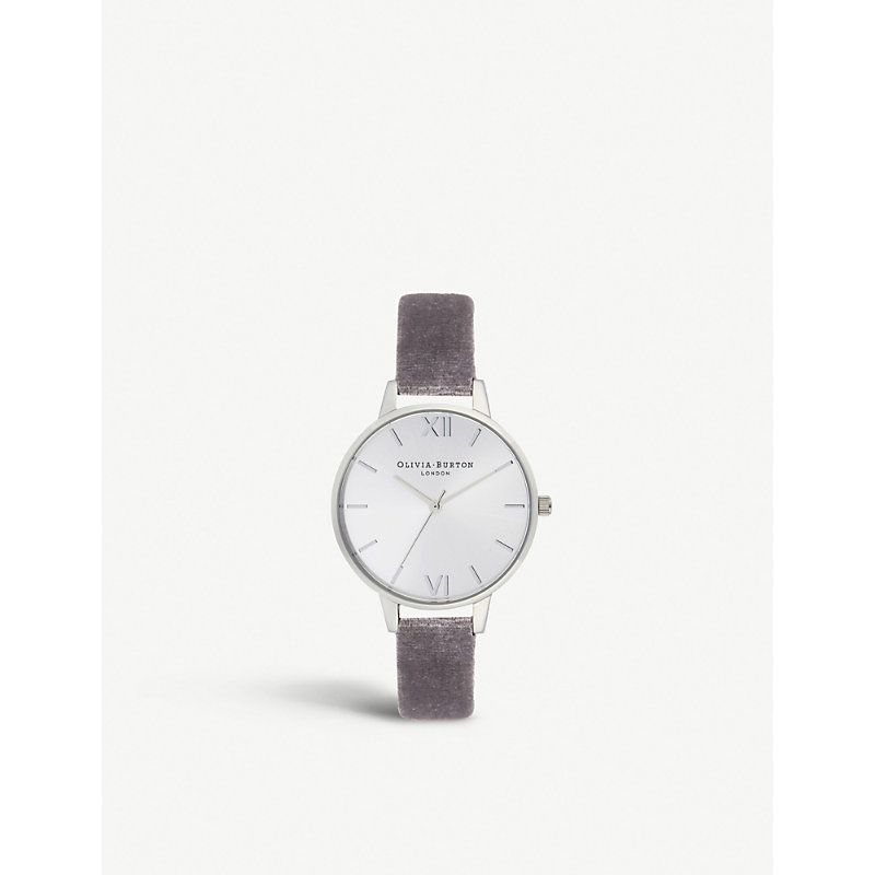 OLIVIA BURTON Ob16De04 Sunray Demi Stainless Steel And Velvet Strap Watch in Grey Lilac/ Silver
