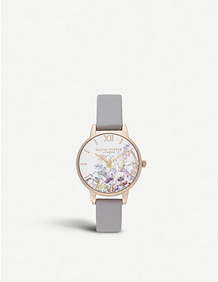 OLIVIA BURTON: OB16EG150 Enchanted Garden yellow gold-plated and leather strap watch