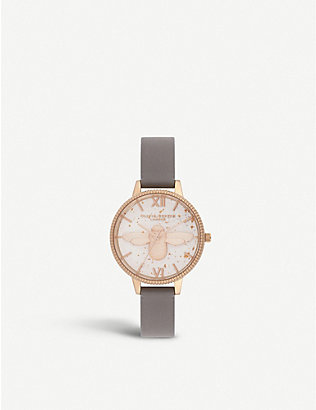 OLIVIA BURTON: OB16GD06 Celestial 3D Bee rose-gold plated and leather demi dial watch
