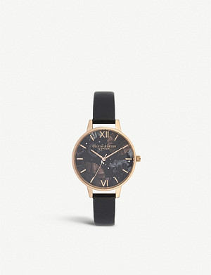 OLIVIA BURTON OB16GD22 Celestial rose-gold plated stainless steel and leather demi dial watch