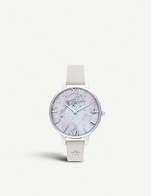 OLIVIA BURTON OB16GD42 Celestial Star mother-of-pearl, Swarovski crystal, stainless steel and leather watch