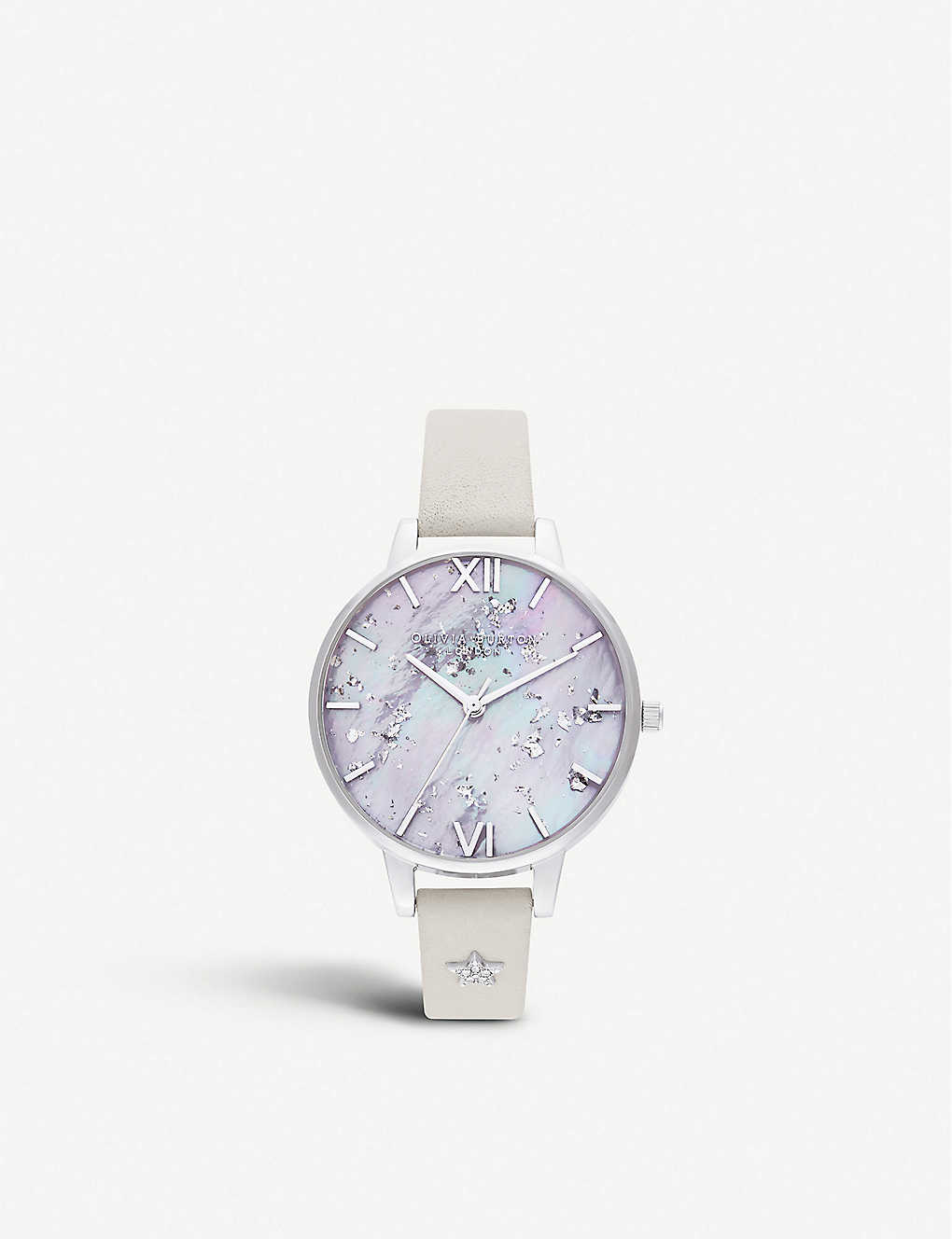 OLIVIA BURTON: OB16GD42 Celestial Star mother-of-pearl, Swarovski crystal, stainless steel and leather watch
