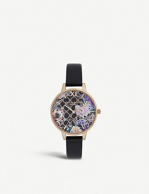 OLIVIA BURTON OB16GH11 Glasshouse rose-gold plated stainless steel and leather watch