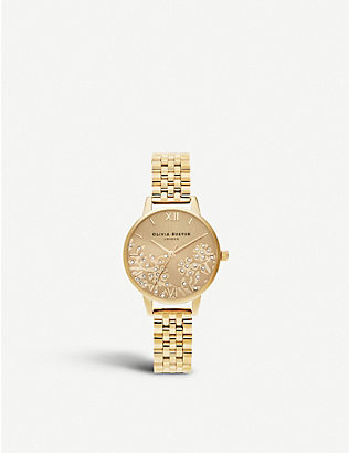 OLIVIA BURTON: OB16MV105 Bejewelled Lace ionic-plated stainless steel watch