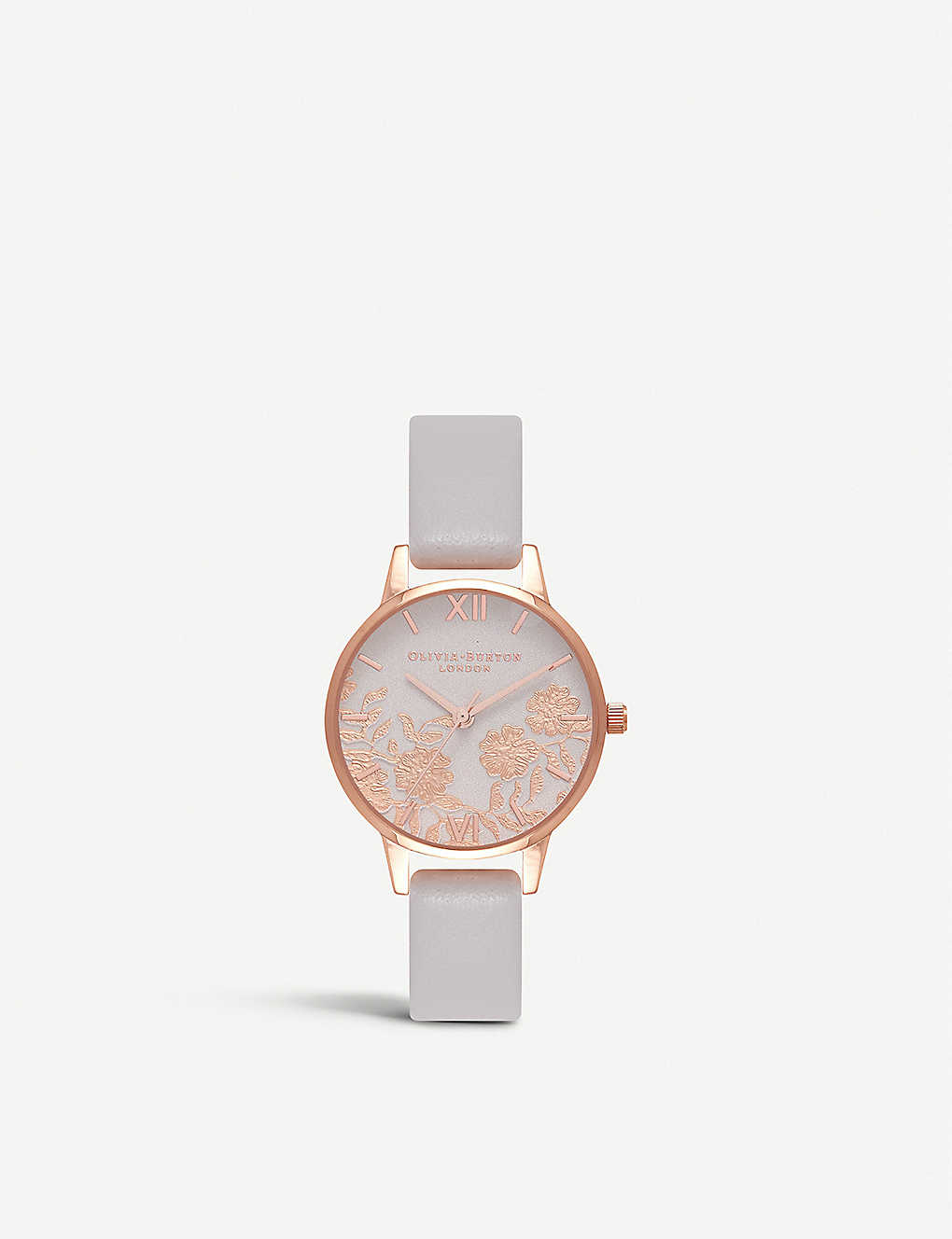 OLIVIA BURTON: Rose-gold and leather watch