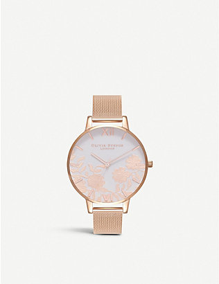 OLIVIA BURTON: OB16MV79 Lace Detail rose gold-plated watch