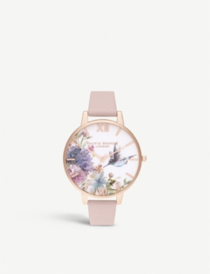 OLIVIA BURTON OB16PP44 Painterly Prints stainless steel and leather watch