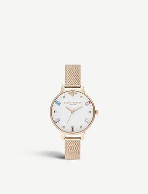 OLIVIA BURTON OB16RB15 Rainbow Bee rose gold-plated demi dial watch