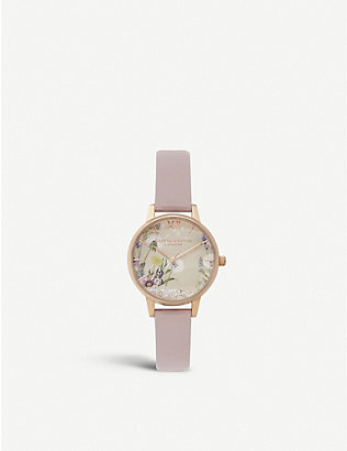 OLIVIA BURTON: OB16SG04 The Wishing rose-gold plated and vegan leather midi dial watch